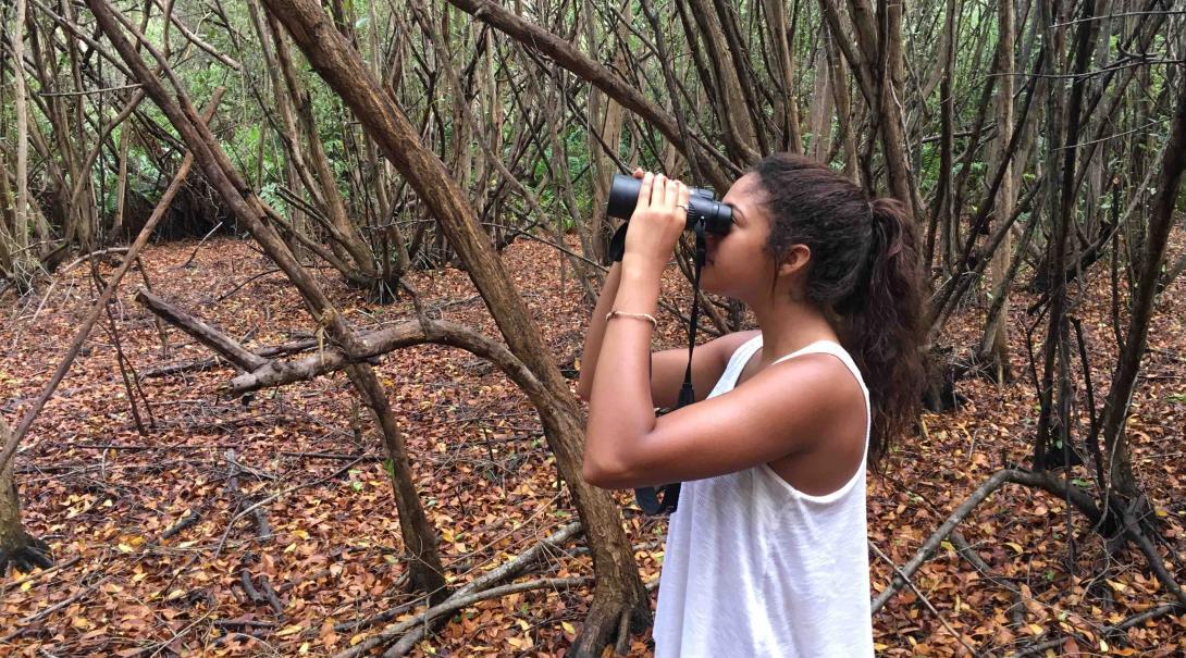 Voluntaria observando con binoculares durante un monitoreo de aves en México.